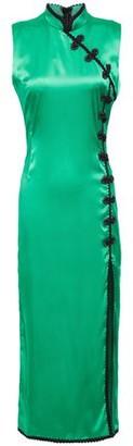 De La Vali Jean Appliqued Satin Midi Dress