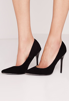Missguided Faux Suede Pointed Stiletto Court Shoes Black