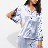 River Island Womens Light blue satin pajama shirt