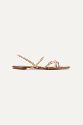 Pedro Garcia Ebbie Swarovski-embellished Metallic Leather Sandals - Gold