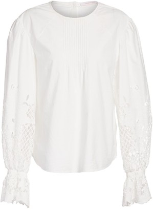 See by Chloe Floral Lace Eyelet Poplin Blouse