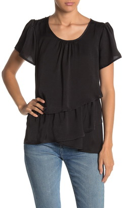 Hazel Layered Ruffle Satin Blouse