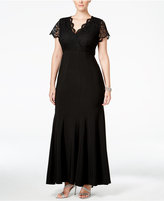 Betsy & Adam Plus Size Lace Mermaid Gown