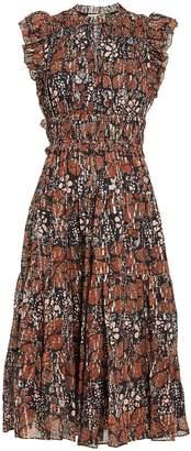 Ulla Johnson Renata Floral Georgette Pleated Dress