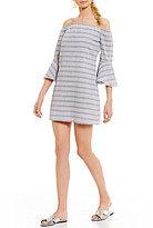 Jodi Kristopher Off-The-Shoulder Striped Bell-Sleeve Shift Dress