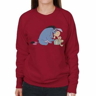Disney Christmas Winnie The Pooh Eeyore Festive Bow Women's Sweatshirt Cherry Red