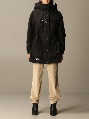 Burberry Jacket In Taffeta With Horseferry Print