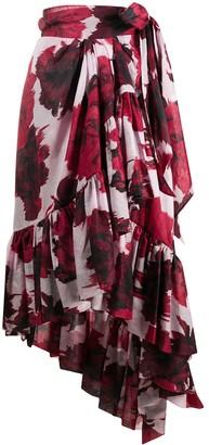 Alexandre Vauthier Asymmetric Floral Print Skirt