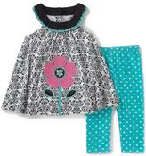 Kids Headquarters Black Yoke Top & Teal Capri Pants - Infant & Toddler