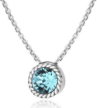 Swarovski Tuscany Silver Women's Sterling Silver Light Blue Crystal March Birthstone Necklace of Length 46 cm/18 Inch