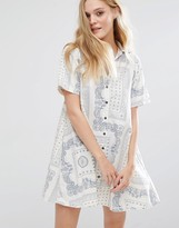 Current/Elliott Badass Bandana Rolled Sleeve Shirt Dress