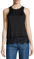 Carven Lace-Trim Jersey Tank, Black