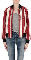 Saint Laurent Women's Baja-Striped Wool-Cotton Bomber Jacket