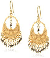 Satya Jewelry Pyrite Petal Gold Chandelier Earrings