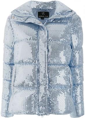 Unreal Fur Sequin Embellished Padded Jacket