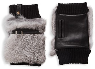 Furlux Leather, Wool Rabbit Fur Fingerless Gloves