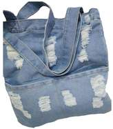 FIST BUMP Dept Women Canvas Bag Denim Holes Tote Shoulder Handbag Shopping School Large Pockets