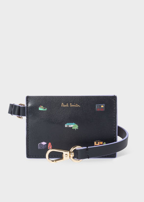 Paul Smith Women's Navy Leather 'House' Credit Card Holder With Wrist Strap