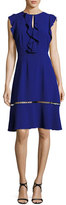 Elie Tahari Rachel Ruffle-Trim Silk Dress