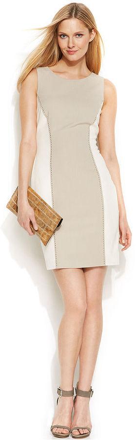 Calvin Klein Sleeveless Studded Colorblock Sheath