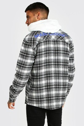 boohoo Mens Cream MAN Official Back Print Check Overshirt, Cream