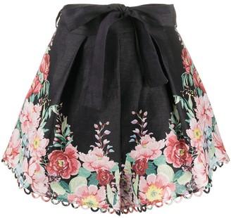 Zimmermann Belted Floral-Print Shorts