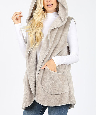 Eag EAG Women's Outerwear Vests Lt - Light Gray Hooded Faux Fur Cocoon Vest - Women