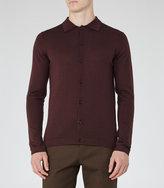 Reiss Reiss Oracle - Merino Polo Shirt In Purple