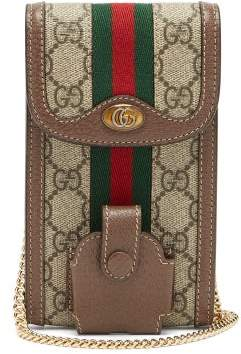 Gucci Ophidia Gg Canvas And Leather Cross-body Phone Bag - Womens - Grey Multi