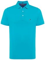Tommy Hilfiger Luxury Pique Short Sleeve Polo Top, Blue Atoll