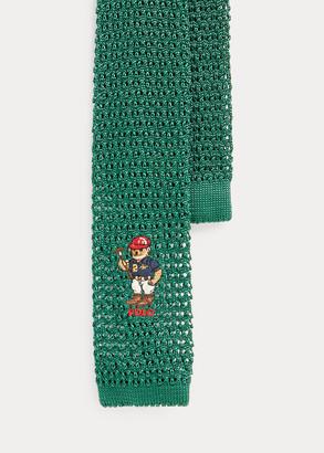 Ralph Lauren Riding Bear Knit Silk Tie