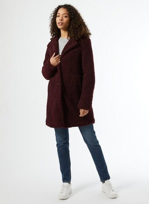 Dorothy Perkins Womens **Dp Tall Berry Longline Teddy Coat