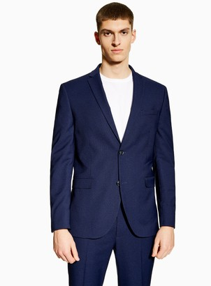Topman Blue Two Tone Skinny Fit Single Breasted Suit Blazer With Notch Lapels