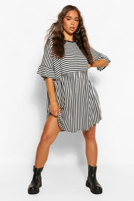 boohoo Contrast Stripe T-shirt Smock Dress