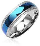 8MM High Polished Stainless Steel Comfort-Fit Ring with Blue Plated Center and Milgrain Edges- Crazy2Shop