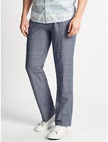 John Lewis Mooring Semi Plain Linen Cotton Trousers, Blue
