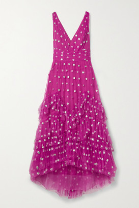 Marchesa Ruffled Polka-dot Sequined Tulle Gown - Fuchsia