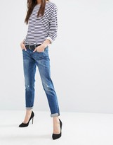 DL1961 Riley Boyfriend Jean with Raw Hem and Abrasions