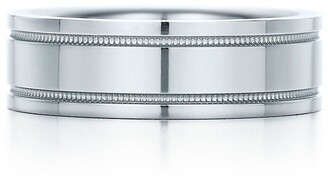 Tiffany & Co. Essential Band double milgrain ring in platinum, 6 mm wide