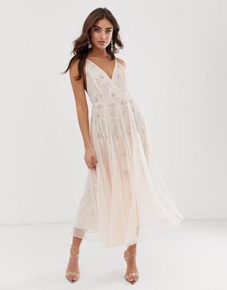 Asos Design DESIGN strappy midi dress in delicate floral embellishment-Pink