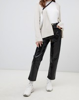 Asos Design DESIGN Farleigh straight leg in coated black alligator effect with contrast stitching