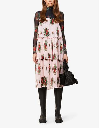 Ganni Floral-print recycled-polyester georgette mini dress