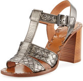 Bottega Veneta Intrecciato T-Strap 80mm Sandal, Argento Antique