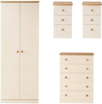 Dakota Ready Assembled4 Piece Package - 2 Door Wardrobe, 5 Drawer Chest and 2 Bedside Chests