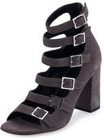 Saint Laurent Suede Babies Multi-Strap 90mm Sandal, Dark Anthracite
