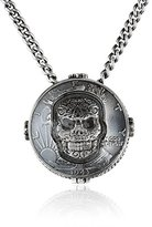 King Baby Studio Unisex Liberty Half Dollar with Carved Baroque Skull Pendant Necklace