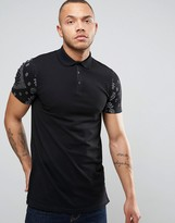 Asos Longline Muscle Polo Shirt With Contrast Bandana Sleeves And Side Zips