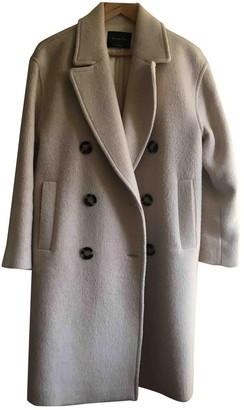 Massimo Dutti Ecru Wool Coat for Women
