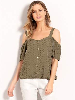 M&Co Petite embroidered cold shoulder top