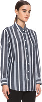 Equipment Margaux Sartorial Stripe Cotton Button Up in Peacoat